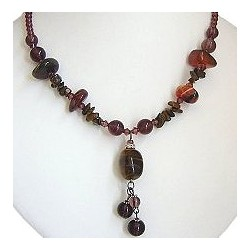 Handcrafted Chic Costume Jewellery Accessoies, Fashion Women Girls Small Gift, Tiger Eye Natural Stone Drop Bead Necklace