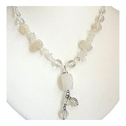 Chic Costume Jewellery Accessoies, Women Girls Cute Small Gift, Moonstone Natural Stone Drop Bead Necklace