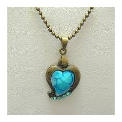 Simple Costume Jewellery Accessoies, Fashion Women Girls Dainty Small Gift, Blue Diamante Brass Heart Pendant Chain Necklace