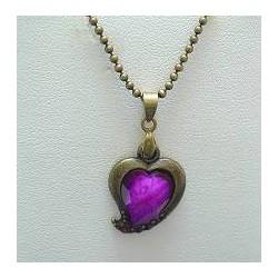 Simple Costume Jewellery Accessoies, Fashion Women Girls Dainty Small Gift, Purple Diamante Brass Heart Pendant Chain Necklace