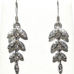 Classic Costume Jewellery Accessoies, Fashion Women Girls Dainty Small Gift, Clear Diamante Silver Leaf Drop Earrings