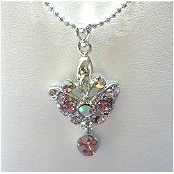 Classic Costume Jewellery Accessories, Fashion Women Girls Small Gift, Lilac Diamante Butterfly Drop Pendant Chain Necklace