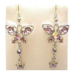 Lilac Diamante Butterfly Flower Drop Earrings