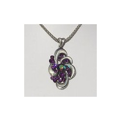 Costume Jewellery Accessories, Fashion Women Girls Small Gift, Purple Diamante Burnished Silver Swirl Pendant Chain Necklace