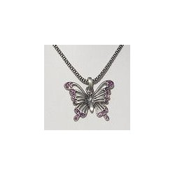 Costume Jewellery Accessories, Fashion Women Girls Small Gift, Purple Diamante Burnished Silver Butterfly Pendant Necklace