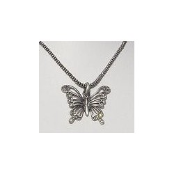 Costume Jewellery Accessories, Fashion Women Girls Small Gift, Grey Diamante Burnished Silver Butterfly Pendant Necklace