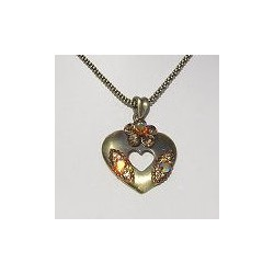 Costume Jewellery Accessories, Fashion Women Girls Small Gift, Brown Diamante Flower Burnished Gold Heart Pendant Necklace