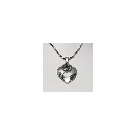 Costume Jewellery Accessories, Fashion Women Girls Small Gift, Black Diamante Flower Burnished Silver Heart Pendant Necklace