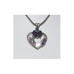 Costume Jewellery Accessories, Fashion Women Girls Small Gift, Purple Diamante Flower Burnished Silver Heart Pendant necklace