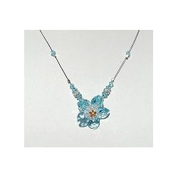 Handcrafted Costume Jewellery Accessories, Fashion Women Girls Small Gift, Light Blue Crystal Bead Flower Necklace