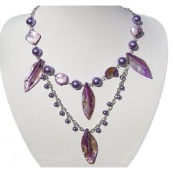 Costume Jewellery Accessories, Fashion Women Small Gift, Purple Pearl MOP Mother-of-Pearl Leaf Double Row Long Necklace