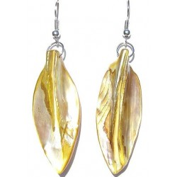 Costume Jewellery Accessories, Fashion Women Girls Small Gift, Yellow MOP Mother-of-Pearl Leaf Drop Earrings