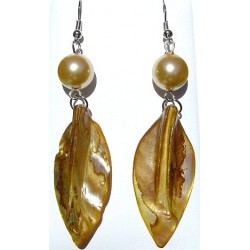 Gold Pearl & Yellow MOP Mother-of-Pearl Leaf Long Drop Earrings
