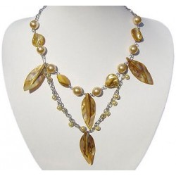 Gold Pearl Yellow MOP Mother-of-Pearl Leaf Double Row Long Necklace