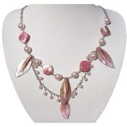 Pink Pearl MOP Mother-of-Pearl Leaf Double Row Long Necklace
