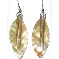 Beige Costume Jewellery Accessories, Fashion Women Girls Small Gift, Ivory MOP Mother-of-Pearl Leaf Drop Earrings