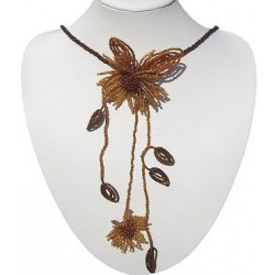 Costume Jewellery Accessories, Fashion Women Girls Small Gift, Brown Beaded Double Flower Marigold Long Dangle Necklace