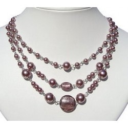 Classic Costume Jewellery Accessories, Fashion Women Small Gift, Dusky Purple Venetian Glass Bead & Pearl Triple Row Necklace