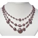 Dusky Purple Venetian Glass Bead & Pearl Triple Row Necklace