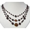 Brown Venetian Glass Bead & Pearl Triple Row Necklace