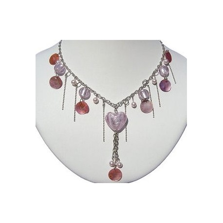 Classic Costume Jewellery Accessories, Fashion Women Girls Small Gift, Pink Glass Heart Shell Pearl Bead Fashion Necklace