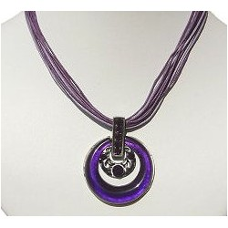 Costume Jewellery Accessories, Fashion Women Girls Small Gift, Purple Enamel Double Round Circles Multi Strand Cord Necklace