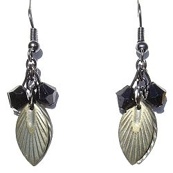 Trendy Costume Jewellery Modern Accessories, Fashion Women Girls Small Gift, Simple Black Bead Brass Leaf Drop Earrings