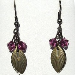 Trendy Costume Jewellery Modern Accessories, Fashion Women Girls Small Gift, Simple Fuchsia Bead Brass Leaf Drop Earrings