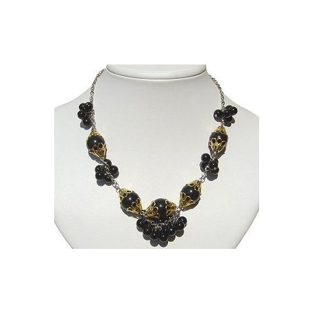 Classic Costume Jewellery Timeless Accessories, Fashion Women Girls Small Gift, Black Cluster Fashion Faux Pearl Necklace