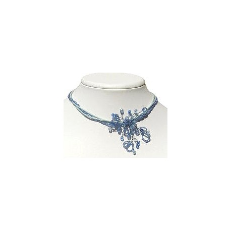 Classic Costume Jewellery, Wedding Party Prom Dress Accessories, Fashion Women Gift, Blue Beaded Flower Bead Choker Necklace