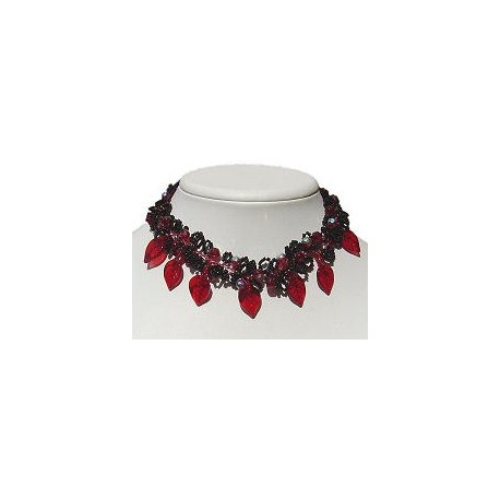 Costume Jewellery, Wedding Party Prom Dress Accessories, Fashion Gift, Black & Red Floral Beaded Choker Cascade Collar Necklace