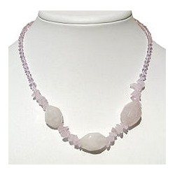 Classic Costume Jewellery, Accessories, Fashion Women Girls Small Gift, Natural Stone Rose Quartz Pink Bead Necklace