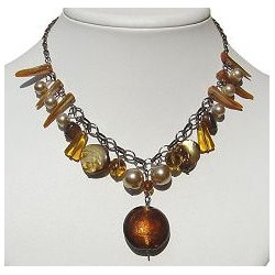 Classic Costume Jewellery, Accessories, Fashion Women Girls Small Gift, Round Brown Venetian Glass Bead Dangle Necklace