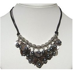 Classic Costume Jewellery Accessories, Fashion Women Small Gift, Chandelier Cascade Grey Shell Faux Pearl Black Cord Necklace