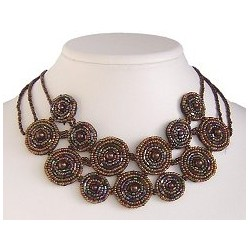 Brown Bead Embroidery Fabric Circle Choker Bib Necklace