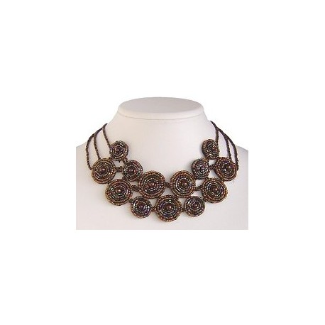 Unique Costume Jewellery Unusual Accessories, Fashion Women Gift, Brown Bead Embroidery Fabric Circle Choker Bib Necklace