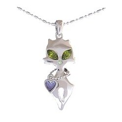 Cute Costume Jewellery Simple Accessories, Fashion Women Girls Small Gift, Green Diamante Eye Cat Collar Heart Pendant Necklace