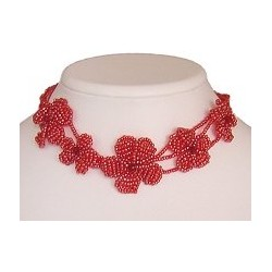 Cute Costume Jewellery Girly Accessories, Fashion Women Girls Small Gift, Red Daisy Beaded Flower Choker Collar Necklace
