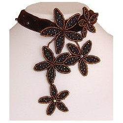 Unique Costume Jewellery Accessories, Women Gift, Brown Bead Embroidery Velvet Flower Collar Choker Bib Statement Necklace