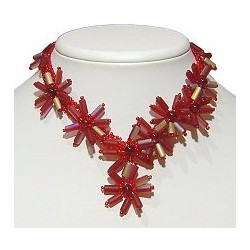 Handcrafted Bead Costume Jewllery, Party Dress Accessories, Fashion Women Gift, Red Marigold Beaded Flower Short Necklace