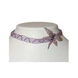 Cute Costume Jewellery Accessories, Young Women Girls Gift, Purple Bead Diamante Dragonfly Grid Cord Collar Choker Necklace