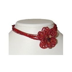 Handcrafted Costume Jewellery Necklace Accessories, Fashion Women Girls Gift, Red Beaded Flower Choker