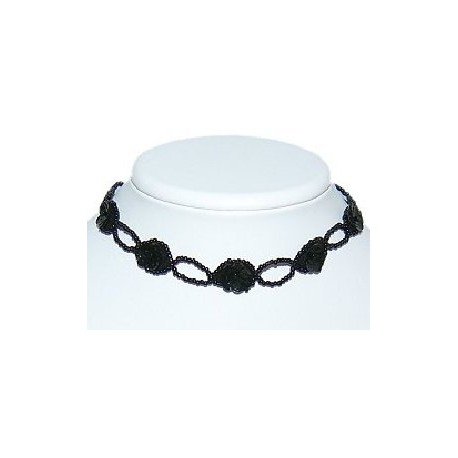 Simple Costume Jewllery Accessories, Black Beaded Olive Shape Bead Collar Choker Necklace