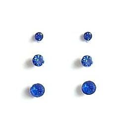 Simple Costume Jewellery Earring Studs, Fashion Women Accessories, Dainty Small Gift, Set of 3 Royal Blue Diamante Stud Earrings