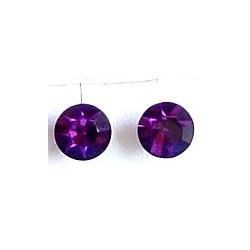 Small Costume Jewellery Earring Studs Rubber Stoppers, Fashion Women Accessories, Purple Diamante 6mm Plastic Pin Stud Earrings