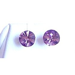 Small Costume Jewellery Earring Studs Rubber Stoppers, Women Girls Accessories, Lilac Diamante 6mm Plastic Pin Stud Earrings