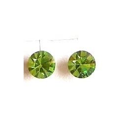 Small Costume Jewellery Earring Studs Rubber Stoppers, Fashion Women Accessories, Green Diamante 6mm Plastic Pin Stud Earrings