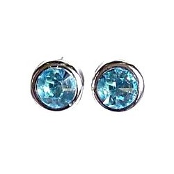 Small Costume Jewellery Studs Rubber Stoppers, Accessories, Light Blue Diamante Round Rubover 9mm Plastic Pin Stud Earrings