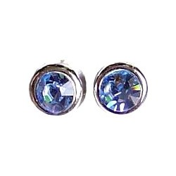Small Costume Jewellery Studs Rubber Stoppers, Women Accessories, Blue Diamante Round Rubover 9mm Plastic Pin Stud Earrings