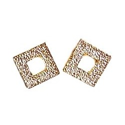 Small Costume Jewellery Studs Rubber Stoppers, Fashion Women Girls Accessories, Gold Open Square Plastic Pin Stud Earrings